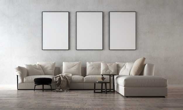 O design interior do loft da sala de estar e da parede de concreto