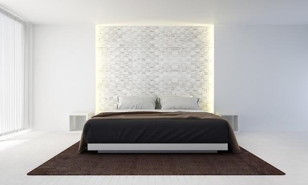 O design interior do quarto e o fundo da parede de tijolos