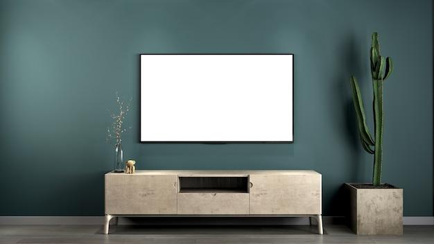 O design interior minimalista da consola de televisão e da parede verde da sala de estar