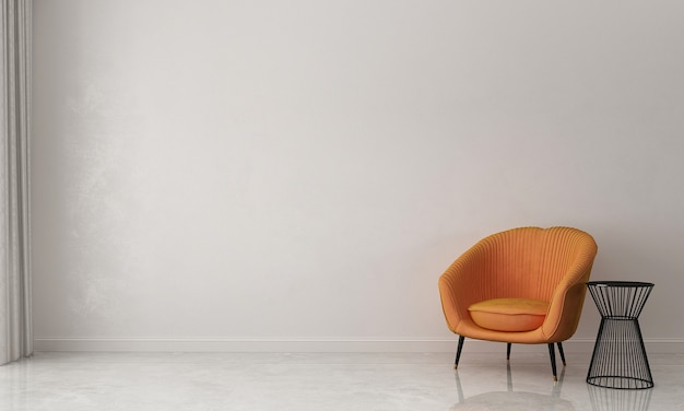 O design interior minimalista da sala de estar e o fundo branco da parede