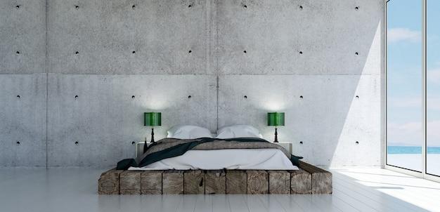 O design interior mínimo do quarto e o fundo da parede com textura de concreto