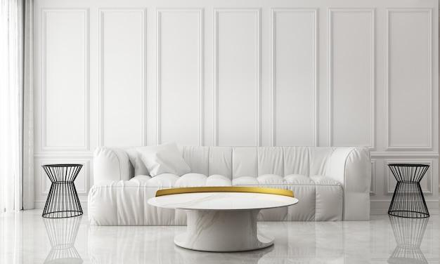 O design interior moderno da sala de estar branca e o fundo branco padrão da parede