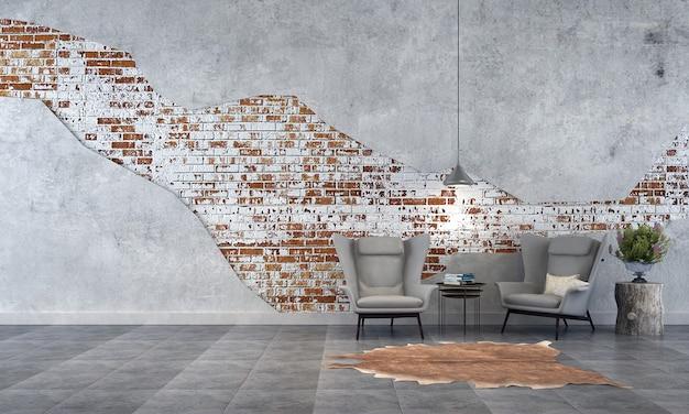 O design interior moderno da sala de estar do loft e o fundo de textura de parede de tijolo