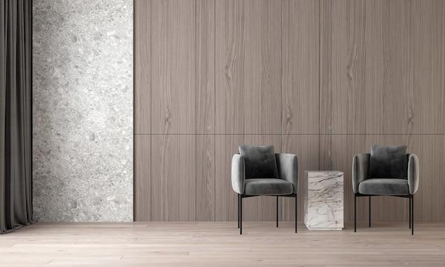 O design interior moderno e acolhedor da bela sala de estar e textura de madeira e parede de mármore