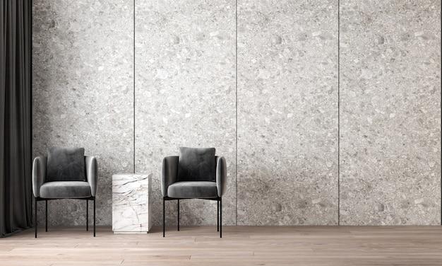 O design interior moderno e aconchegante da bela sala de estar e textura de parede de mármore