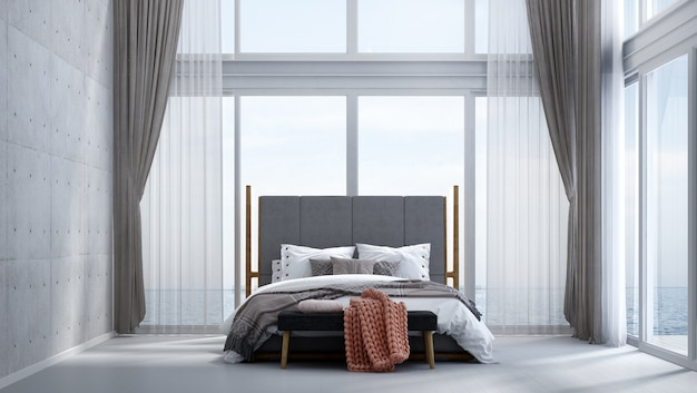 O design interior moderno e aconchegante do quarto, parede de concreto e vista do mar