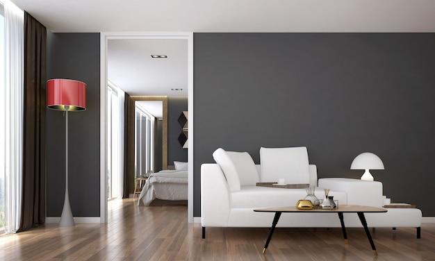 O design interior moderno e aconchegante e simulação de móveis da sala de estar e fundo de textura de parede cinza e renderização em 3d