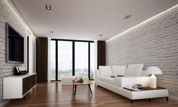 O design interior moderno e aconchegante e simulação de móveis da sala de estar e fundo de textura de parede de tijolo branco e renderização em 3d