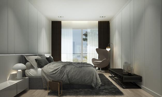 O design interior moderno e luxuoso do quarto e da parede branca