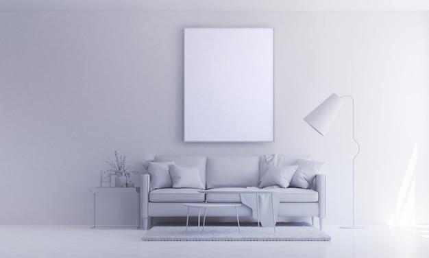 O design minimalista da sala de estar e a parede com textura pintada de branco