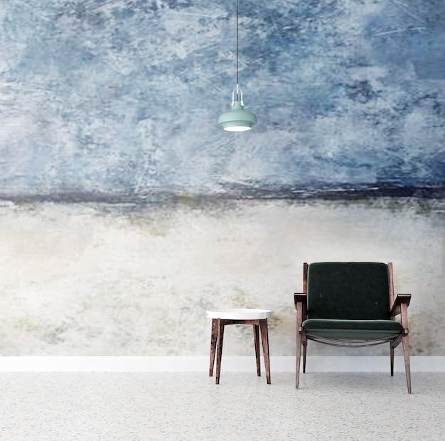 O design minimalista da sala de estar e o fundo da parede com textura pintada de azul