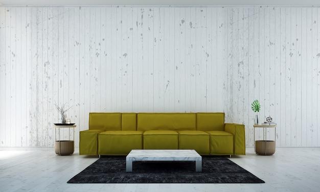 O design minimalista da sala de estar e o fundo da parede com textura pintada de branco