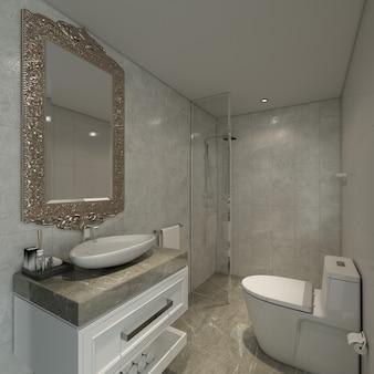 O design minimalista do banheiro interno e o fundo da parede com textura de mármore branco