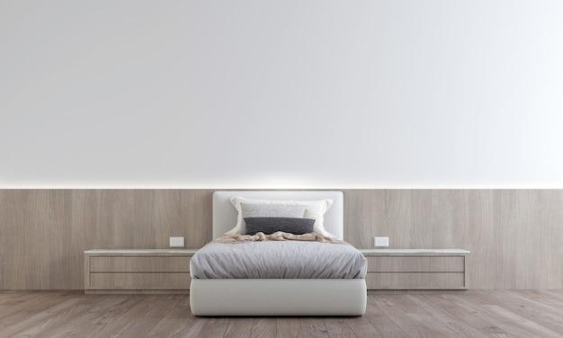 O design minimalista do interior do quarto tem mesa lateral com parede branca padrão, renderização 3d