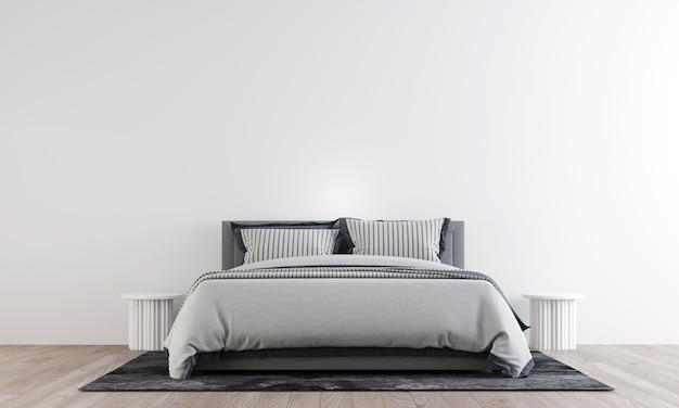 O design minimalista do mock up do interior do quarto tem uma cama mínima, uma mesa lateral aconchegante com uma parede de padrão branco