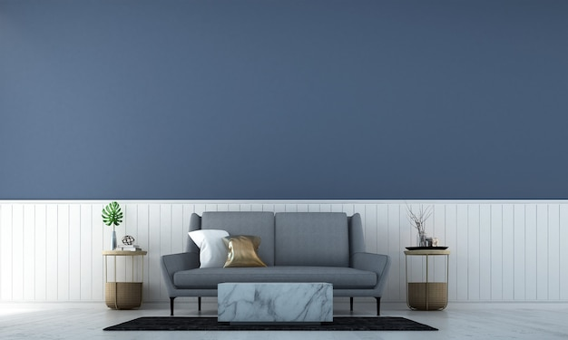 O design moderno da sala de estar e o fundo da parede com textura de cor branca e azul