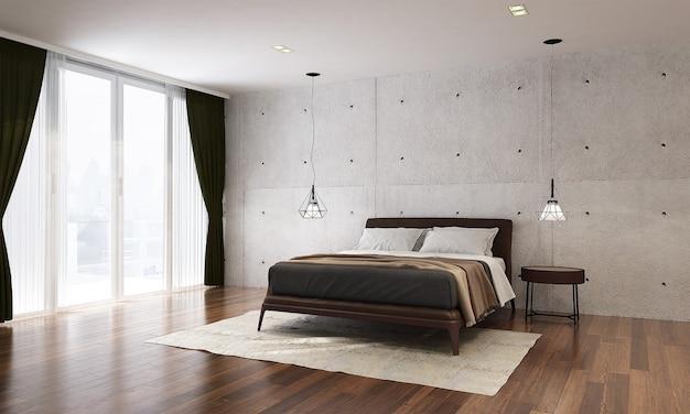 O design moderno da simulação do interior do quarto tem cama mínima, mesa lateral com parede de concreto