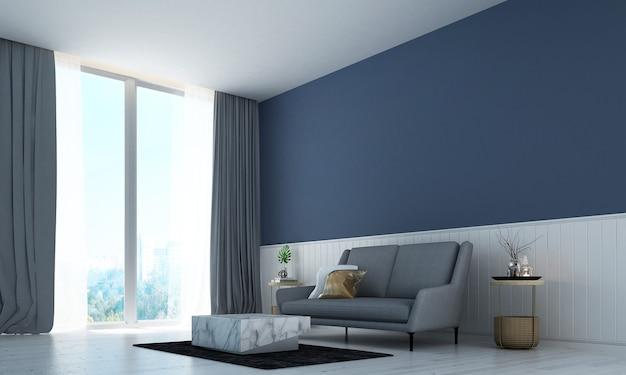 O design moderno e acolhedor da sala de estar e o fundo da parede com textura de cor branca e azul