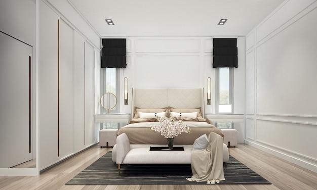 O design moderno e aconchegante do interior do quarto tem mesa lateral com parede branca padrão, renderização 3d