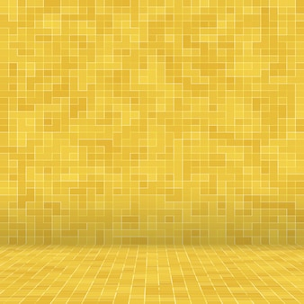 O detalhe de mosaico cerâmico do sumário da textura de mosiac do ouro amarelo decorou a construção.