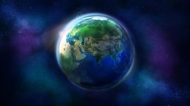 O dia metade da terra do espaço
