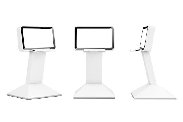 O display lcd de informações do computador está apoiado em um fundo branco. renderização 3d