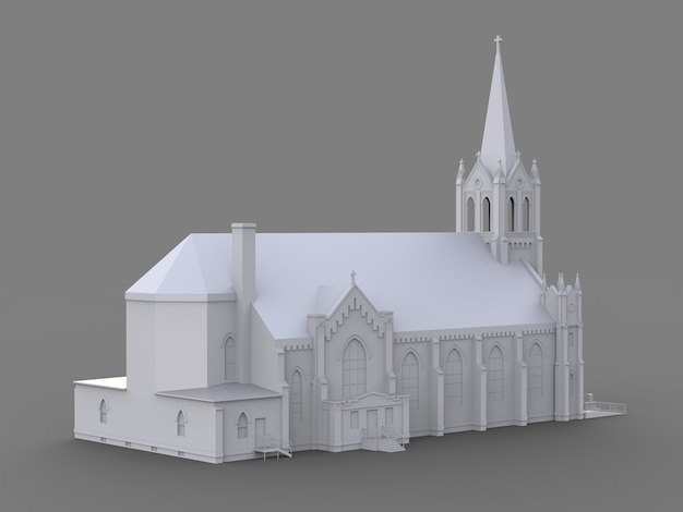 O edifício da igreja católica, vistas de diferentes lados. ilustração tridimensional branca em um fundo cinza. renderização 3d.