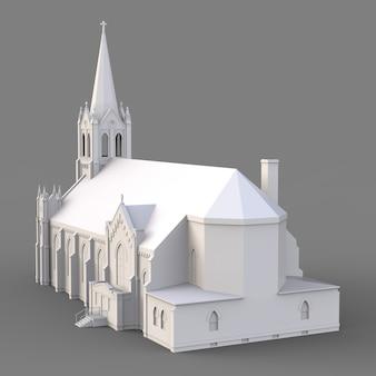 O edifício da igreja católica, vistas de lados diferentes. ilustração branca tridimensional em uma superfície cinza