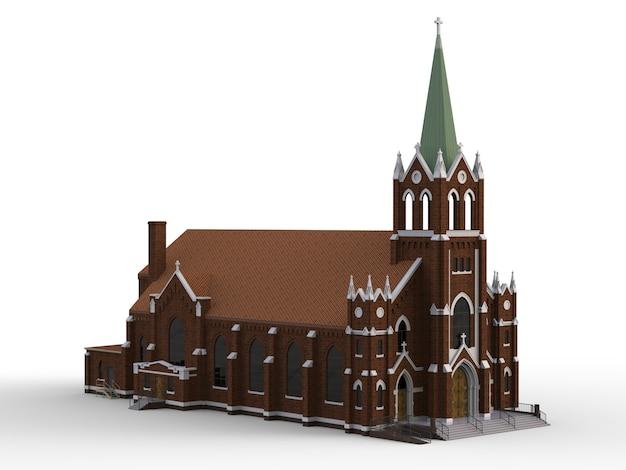 O edifício da igreja católica, vistas de lados diferentes