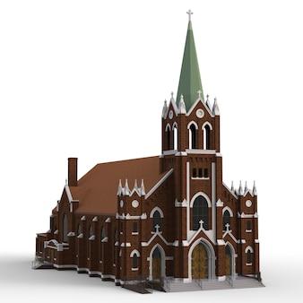 O edifício da igreja católica, vistas de lados diferentes.