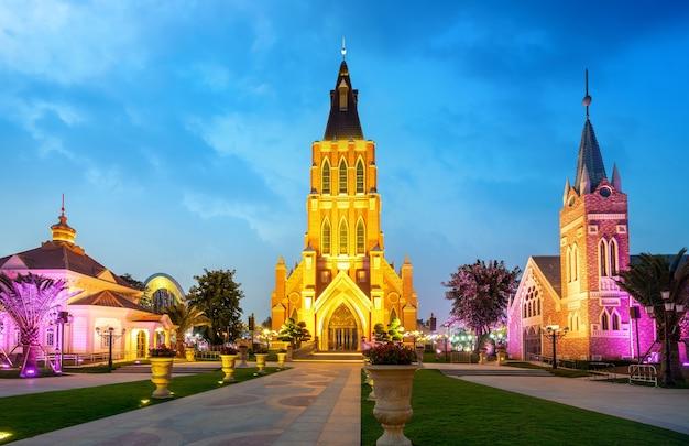 O edifício da igreja na ilha de haihua, hainan, china