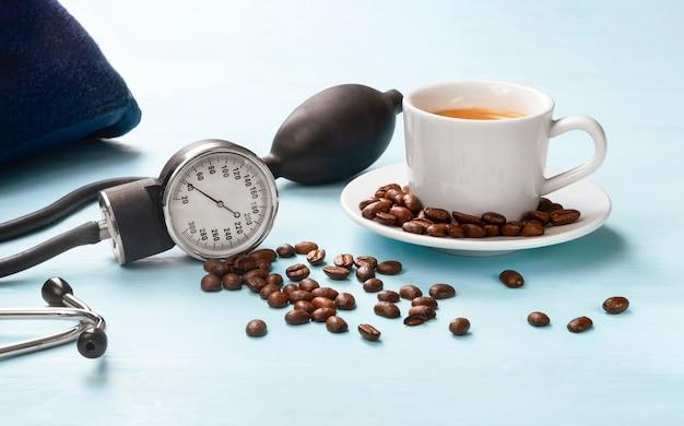 O efeito do café na pressão sanguínea humana.