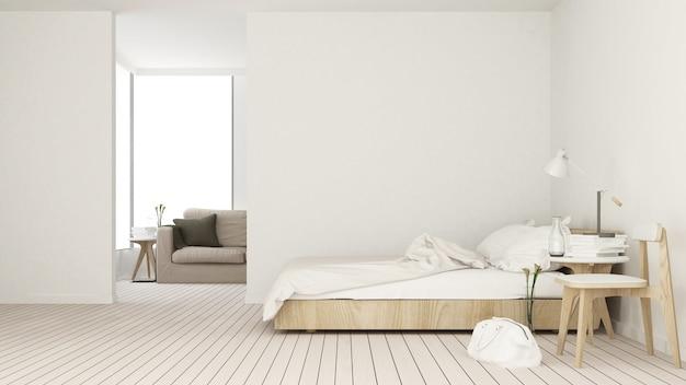 O espaço interno do quarto 3d no apartamento