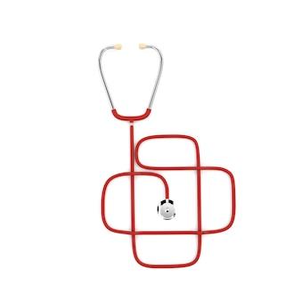 O estetoscópio do doutor isolado em um fundo branco. o design dos serviços de saúde. ilustração 3d.