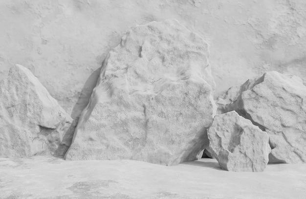 O estilo da textura do grunge do fundo da parede de pedra cinzenta do quarto vazio abstrato., modelo 3d e ilustração.