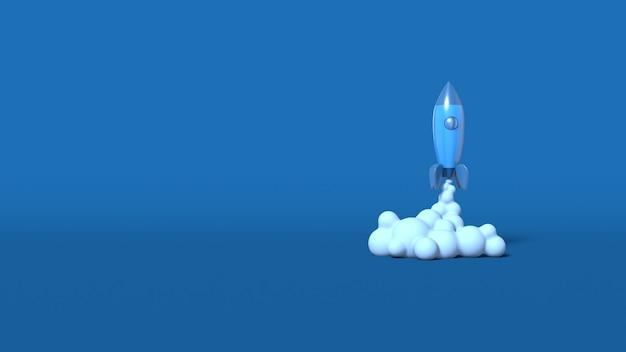 O estilo dos desenhos animados do foguete espacial decola. conceito de negócio de inicialização. cena horizontal abstrata mínima elegante, lugar para texto. cor azul clássica na moda. renderização em 3d