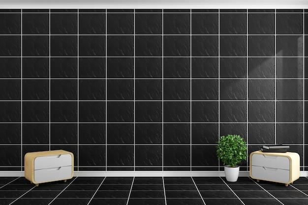 O estilo moderno das telhas pretas na parede preta das telhas e no assoalho projeta. renderização 3d