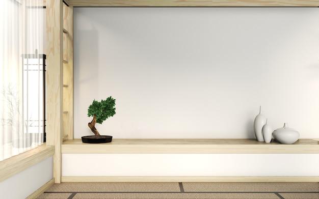 O estilo muito japonês da sala vazia do zen com assoalho e parede da esteira de tatami mistura de madeira. renderização em 3d