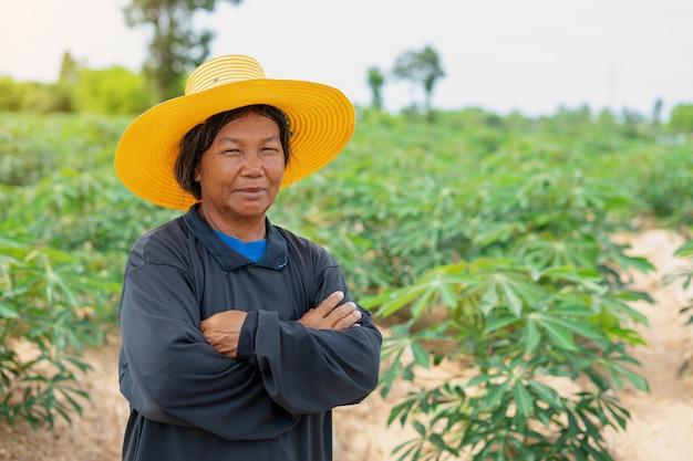 O fazendeiro esperto da mulher cruzou seus braços com campo da mandioca. agricultura e conceito de sucesso fazendeiro inteligente