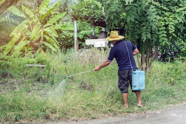 O fazendeiro mata a planta daninha que pulveriza pesticidas no campo pelo pulverizador manual.