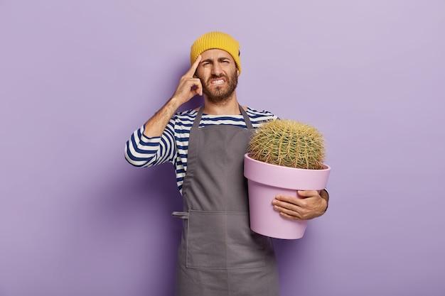 O florista infeliz está com dor de cabeça, toca a têmpora com o dedo indicador, usa um macacão listrado e avental, segura um vaso de cacto