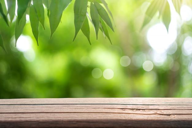 O foco seletivo da madeira velha vazia no borrão da natureza borra o parque com fundo do bokeh.