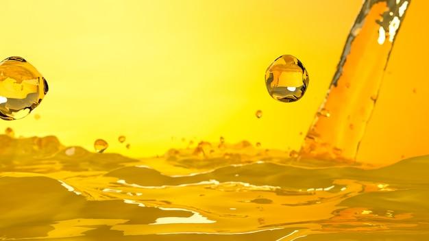 O foco seletivo de derramamento da cor do ouro do motor do carro de óleo, 3d rende.