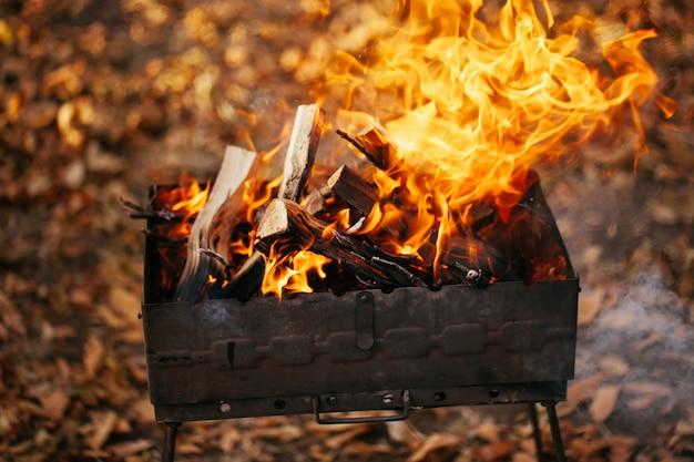 O fogo na grelha