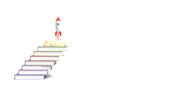 O foguete de brinquedo decola dos livros que vomitam o fumo em um fundo branco. símbolo do desejo de educação e conhecimento. ilustração da escola. renderização em 3d.