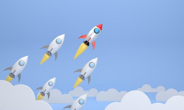 O foguete vermelho que voa alto e diferente de outros foguetes. conceito de sucesso de negócios em startups