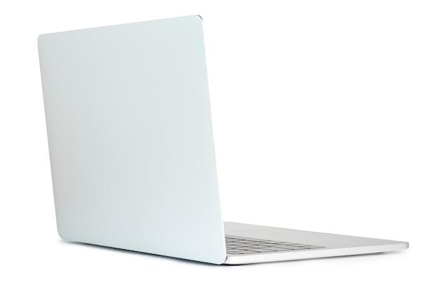O formulário em branco do quadro do computador portátil com fundo branco para adiciona o molde infographic ou a apresentação e a propaganda. tecnologia e objeto com traçado de recorte.