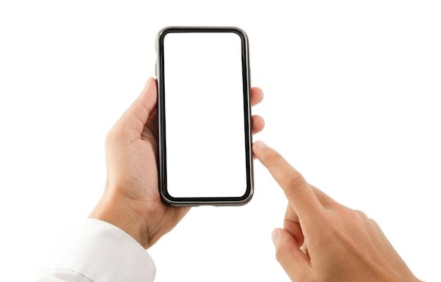 O formulário em branco do quadro do smartphone na mão com fundo branco para adiciona o molde infographic ou a apresentação e a propaganda. tecnologia e objeto com traçado de recorte.