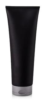 O frasco de tubo preto de gel de banho isolado no fundo branco