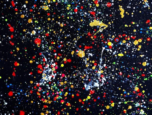 O fulgor colorido colore o fundo e a textura do sumário da pintura a óleo das gotas.